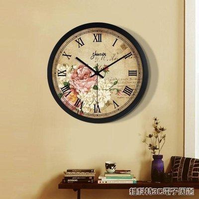 掛鐘 美式鐘錶客廳復古掛鐘歐式靜音石英鐘創意個性簡約現代掛錶圓