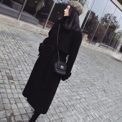 毛呢外套 長版大衣-黑色修身繫帶秋冬女外套73wd24[獨家進口][米蘭精品]