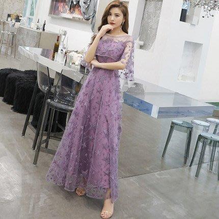 妞妞 婚紗禮服~紫色夢幻森系新娘婚紗主持人長禮服~3件免郵