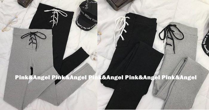❤Pink&Angel❤【70039】韓版時尚抽繩緊身九分褲網紅chic高腰綁帶顯瘦運動休閒合身內搭褲。2色。現+預