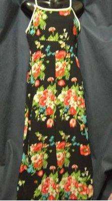 鮮艷花卉細肩帶長洋裝