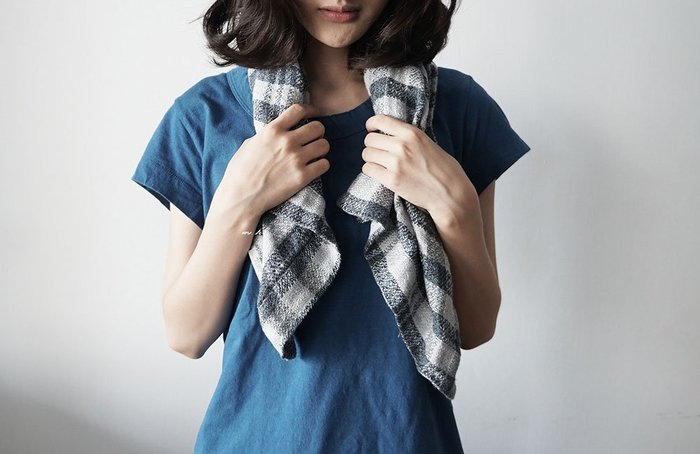MH選物室 Lino e Lina 自然系 大人色 灰藍 格紋 可掛式 麻製 易乾 舒適 格紋 臉巾 小毛巾