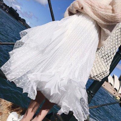 。I O N Λ。現貨⚡️白波點百褶仙女紗裙過膝裙長裙