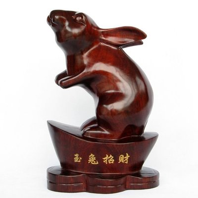 T木雕兔 家居裝飾品招財兔 紅木工藝品木雕擺件 生肖兔 新款