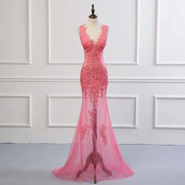 天使佳人婚紗禮服旗袍~~玫紅色透紗刺繡晚禮服