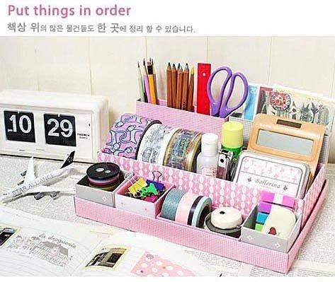 告別桌面凌亂~~韓國diy個性7格收納盒桌面整理盒 紙質化妝品收納整理盒. 首飾盒, 文具盒