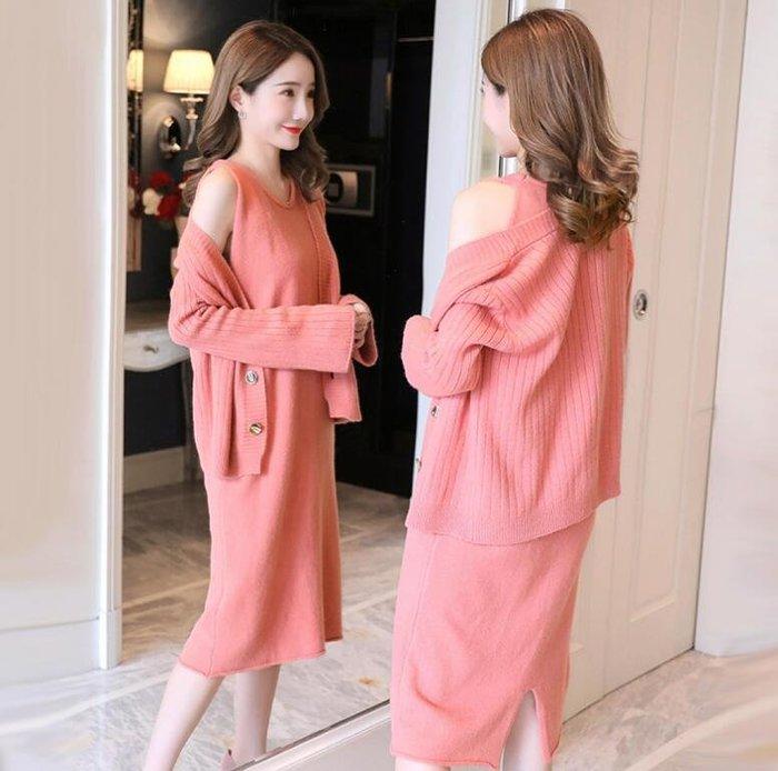 孕婦裝套裝 時尚款 韓版毛衣外套 孕婦連身裙 兩件套裝 潮媽必備—莎芭