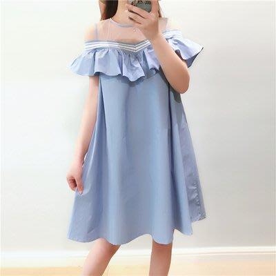 中大尺碼XL-5XL休閒雪紡連身裙夏新款大码胖mm宽松娃娃裙R32-3398