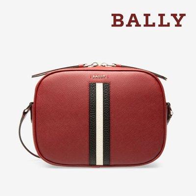 【台中米蘭站-逢甲店】全新品 BALLY SASTRID 防刮牛皮黑白條紋相機斜背包 (6227001-紅)
