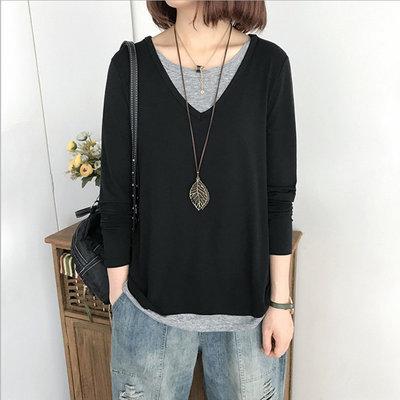 糖衣子輕鬆購【BV2026】韓版時尚休閒百搭拼接假兩件上衣T恤