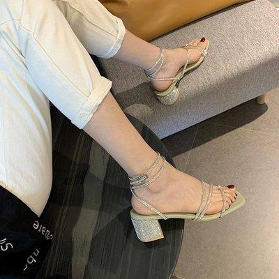 涼鞋女仙女風2020年夏季新款中跟百搭網新紅時裝水鉆粗跟帶鉆羅馬鞋 全館免運