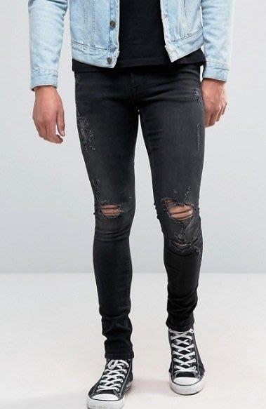 ◎美國代買◎ASOS 超顯廋好看大腿小腿雙膝抽鬚刷破可反摺褲管貼合身有彈性英倫搖滾龐克刷破合身牛仔褲~歐美街風~大尺碼~