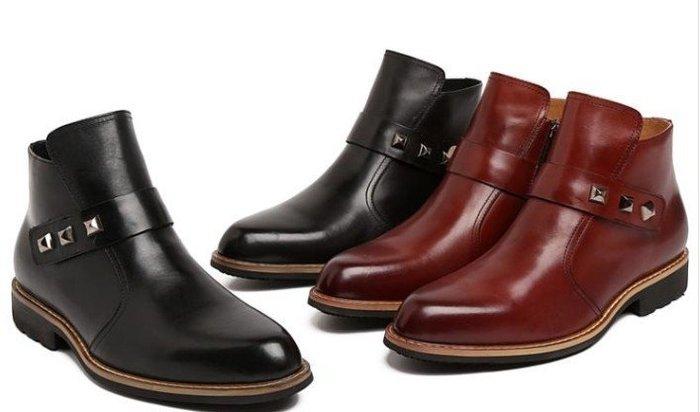 新品 尖頭商務皮靴 頭等牛皮低筒靴 潮流男靴 尖頭 拉鍊 短靴