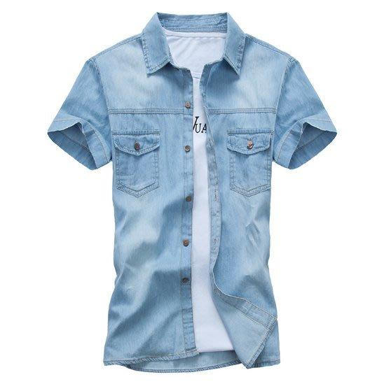 Ovan 夏季男款簡約 純色基本款 短袖牛仔襯衫 外搭