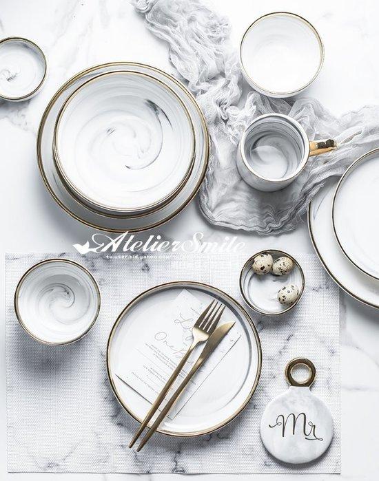 [ Atelier Smile ] 鄉村雜貨 北歐風 大理石 金邊餐具組 # 9件套組  (現+預)