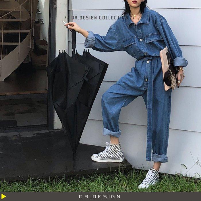 10/31新品►DR.DESIGN│DR31741-歐美街拍 高腰 直筒 超寬鬆 綁帶 襯衫式 工裝 牛仔 連身褲