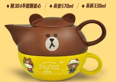 7-11 HELLO KITTY X LINE FRIENDS 熊大頭型 下午茶杯壺組-M&M 台中市