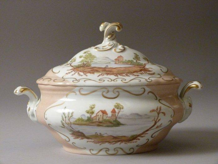 19世紀德國 Hutschenreuther 手繪大型瓷蓋盅