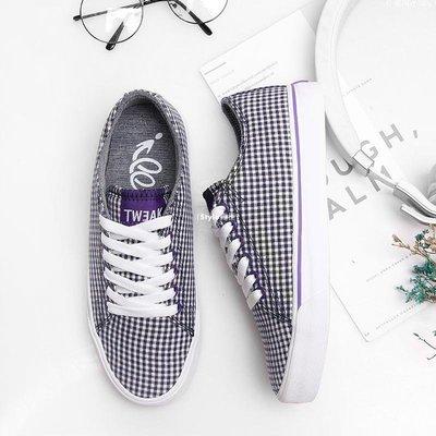 じ星河小站╮ TWEAK特威克春夏季男女鞋低幫板鞋 格子條紋帆布情侶款休閒鞋子F2Y68