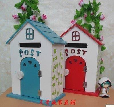 【王哥】新款韓式家庭擺設 木質信箱 鑰匙箱 兒童攝影道具 創意木屋壁掛郵箱WG-22762276