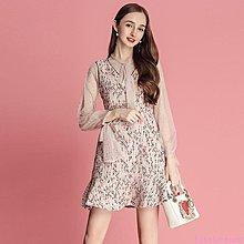 Little-Luck~ MIUCO2019早春網紗袖口系帶打底衫+粗花呢背心裙兩件套潮k