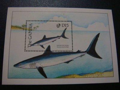 【大三元】非洲郵票-甘比亞-F15a各國魚類專題系列--新票小全張-原膠