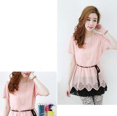 粉色夏裝百褶時尚洋裝上衣 FD56 J-11523