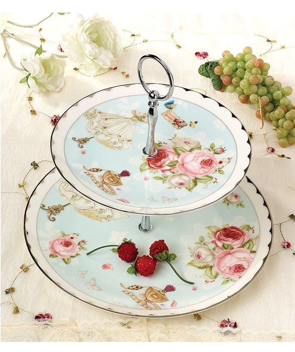 ~蘇菲亞精品傢飾~英國風玫瑰花園金箔系列雙層點心架盤(精美彩盒禮盒裝)