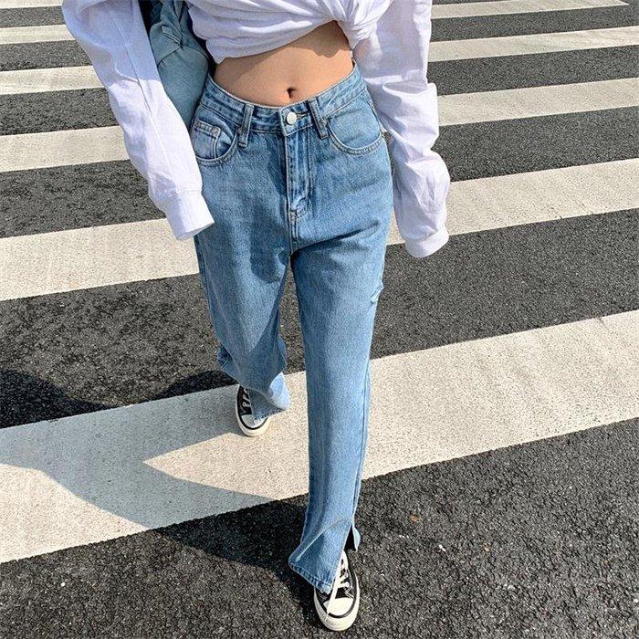 潮流有型小寬鬆丹寧長褲 高腰褲管開岔直筒牛仔褲 艾爾莎【TAE8589】