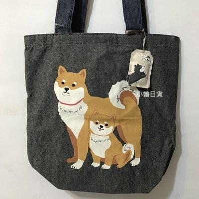 【現貨】日本 SHIBA INU 柴犬親子 棉布 側背包 購物袋-黑色/柴犬親子