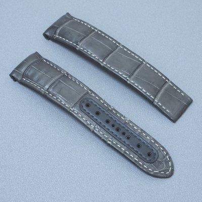 歐米茄 OMEGA 原廠 超霸 登月 44.25mm專用 21mm 灰色 鱷魚皮錶帶 摺疊扣專用