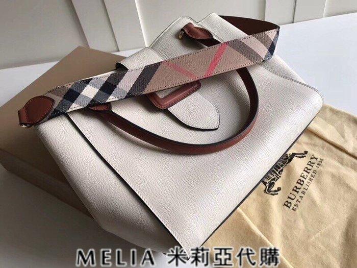 Melia 米莉亞歐洲代購 巴寶莉 戰馬 英國名品 18ss 手提包 斜背包 the buckle 笑臉包 米白色