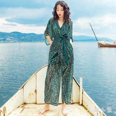 ZIHOPE 波西米亞連身褲女士夏潮牌高腰顯瘦雪紡闊腿褲海邊韓版長裙洋裝ZI812