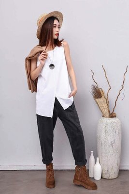 韓版純棉圓領黑色無袖T恤寬鬆百搭女背心鈕扣開叉不對稱白色背心