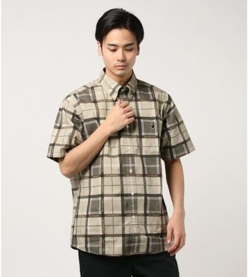 萌貓小店 日本直送-日本潮牌A BATHING APE BAPE 服飾RELAXED BAPE LOGO CHECK S/S SHIRT M