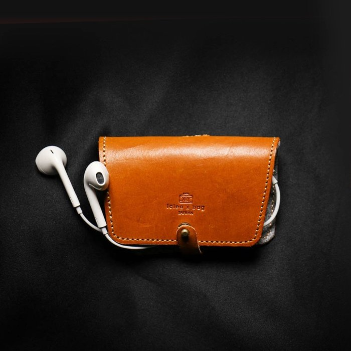 點子包【icleaXbag】 真皮耳機收納套 牛皮 禮品 附贈禮盒包裝 可刻字 DG32