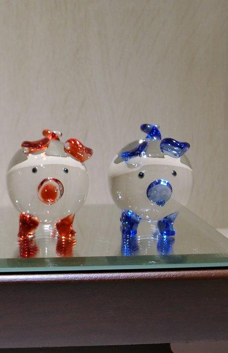 【藝晶香琉璃藝術工坊】手工琉璃、可愛小圓豬、豬年、擺飾、開運