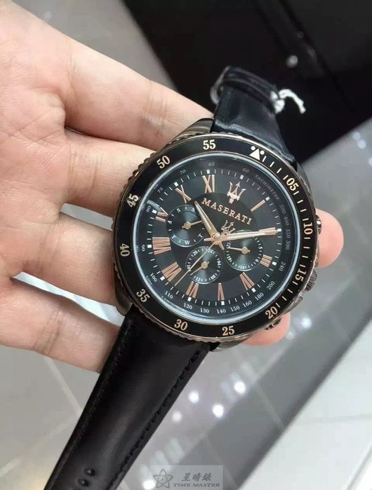 請支持正貨,瑪莎拉蒂手錶MASERATI手錶STILE款,編號:MA00022,咖啡色錶面黑色皮革錶帶款