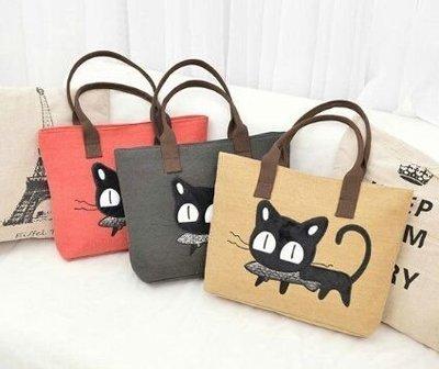 ღ~{現貨 }~ ღ新款韓版可愛萌系清新貓咪吃魚帆布包 購物包 手提單肩包 側背包 媽媽包--特價