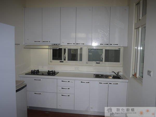 【雅格廚櫃】工廠直營~一字型廚櫃 流理台 廚具 美耐門板、含櫻花二機、三星人造石