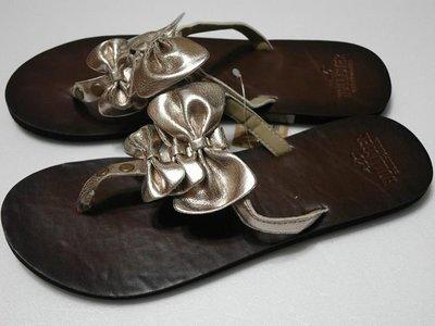 美國hollister加州衝浪風女裝 SoCal Flip Flops M號好cute金金蝴蝶結亮麗夾鞋含運在台現貨