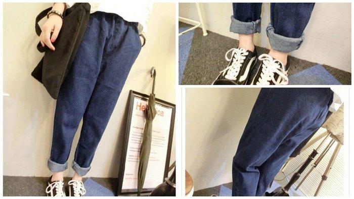 Misa Shop~韓國 修身顯瘦 寬鬆深色 BF風鬆緊腰哈倫褲 ZY-051
