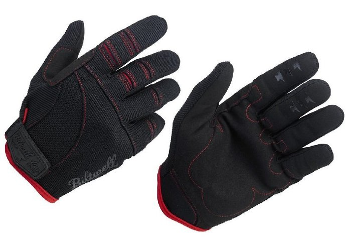 (I LOVE樂多)USA Biltwell MOTO GLOVES - BLACK/RED bmx 騎士手套 黑紅色