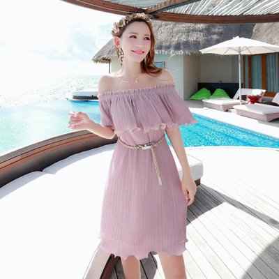 │iBeauty│海邊度假 性感露背 一字領小洋裝 連衣裙 度假洋裝 雪紡荷葉邊 鬆緊腰 平口洋裝 粉綠 粉紫