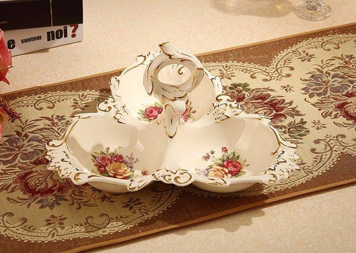 粉紅玫瑰精品屋~歐式高檔陶瓷三格點心盤 水果盤~