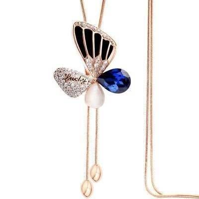 毛衣鍊 鑲鑽項鍊 -高貴氣質蝴蝶造型女飾品2色73fv36[獨家進口][巴黎精品]