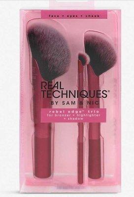 Real Techniques REBEL EDGE TRIO #01781 【愛來客 】蜜粉刷 腮紅刷  眼影刷 3件