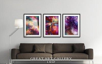 雲彩大師抽像印象派鮮豔圖案客廳三聯背景...