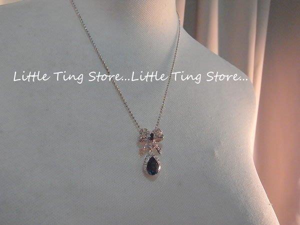 Little Ting Store: 韓國婚禮晚宴蝴蝶結水鑽+垂吊藍水晶鑽水滴款頸鍊鎖骨鏈 短項鍊
