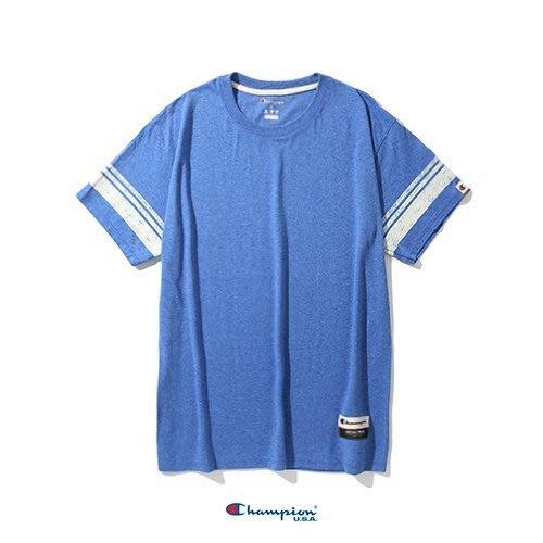 Champion AO300 復古混紡條紋 /  麻灰寶藍